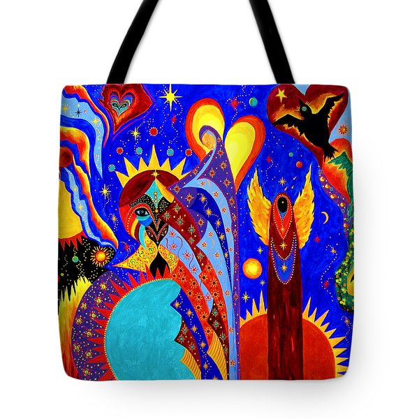 Tote Bag featuring the painting Angel Fire by Marina Petro