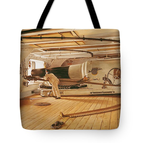 Twenty-seven Pound Cannon On A Battleship Tote Bag by Gustave Bourgain