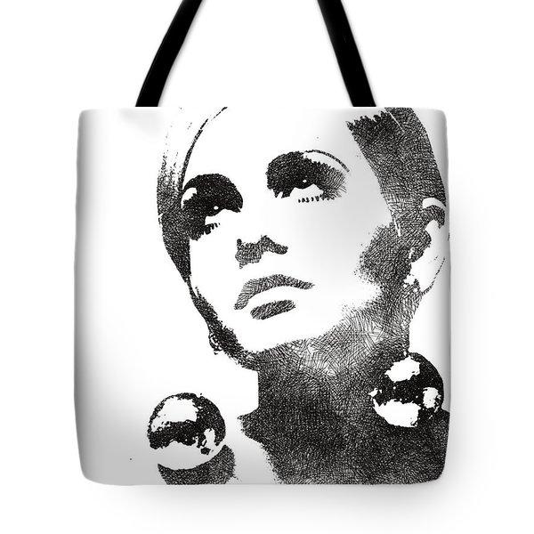 Twiggy Bw Portrait Tote Bag