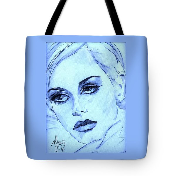 Tote Bag featuring the painting Twiggy In Blue by P J Lewis