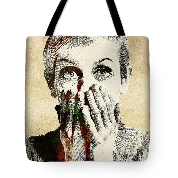 Twiggy Surprised Tote Bag by Mihaela Pater