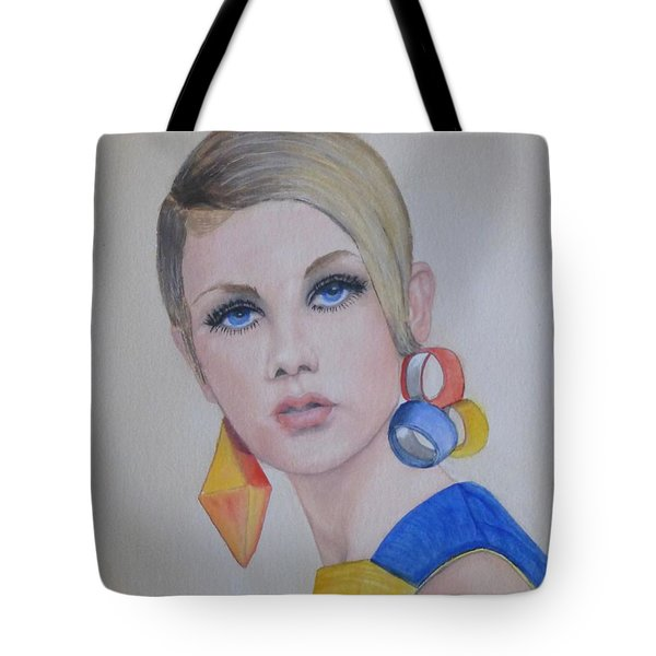 Twiggy The 60's Fashion Icon Tote Bag by Kelly Mills