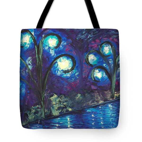Tote Bag Featuring The Painting Twiglight Woods By Jessilyn Park