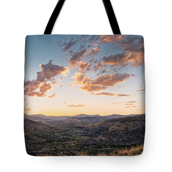 Twilght Panorama Of Davis Mountains State Park Blue Mountain And Mount Livermore - Fort Davis Texas Tote Bag