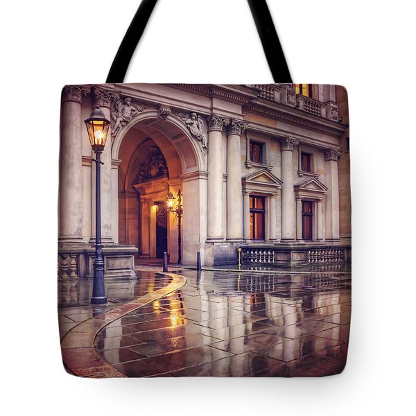 Tote Bag featuring the photograph Twilight At Hamburg Town Hall Courtyard  by Carol Japp