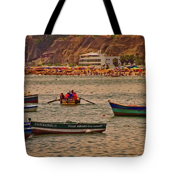 Tote Bag featuring the photograph Twilight At The Beach, Miraflores, Peru by Mary Machare