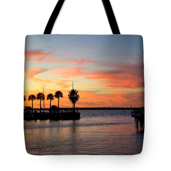 Twilight At The Marina Tote Bag