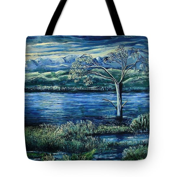 Twilight At The River Tote Bag by Caroline Street