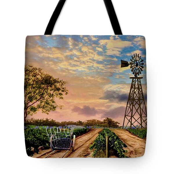 Twilight At The Vineyard Tote Bag by Ron Chambers