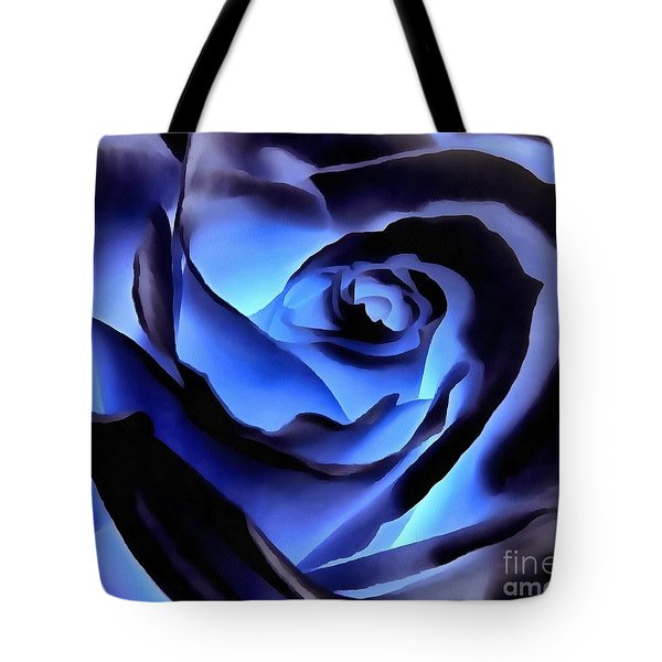 Twilight Blue Rose  Tote Bag by Janine Riley