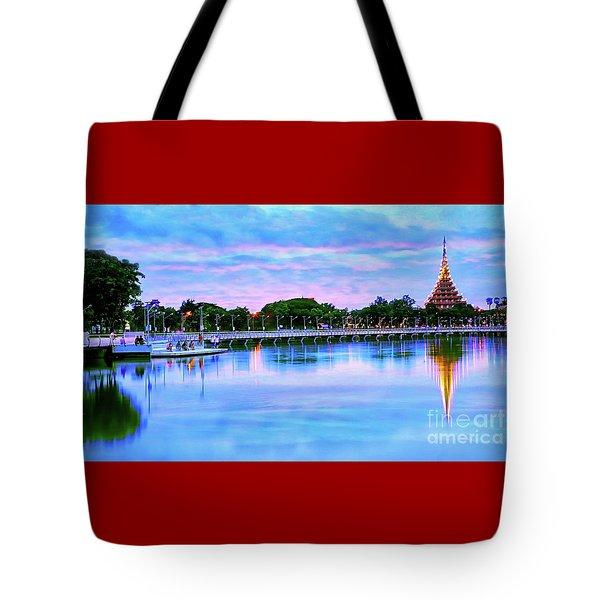 Twilight City Lake View Tote Bag