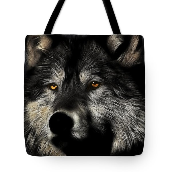Twilight Eyes Of The Lone Wolf Tote Bag by Wingsdomain Art and Photography