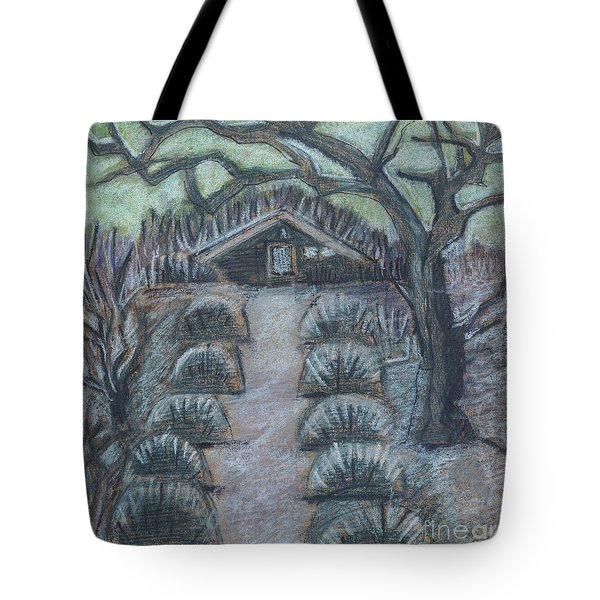 Tote Bag featuring the drawing Twilight In Garden, Illustration by Ariadna De Raadt