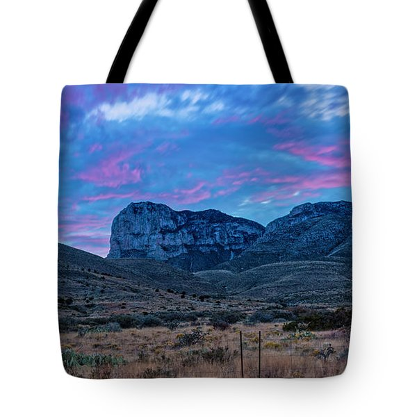 Twilight Long Exposure Panorama Of El Capitan And Guadalupe Mountains - Culberson County West Texas Tote Bag