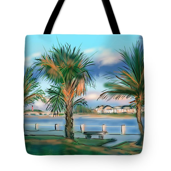 Twilight On Saw Fish Bay Tote Bag by Jean Pacheco Ravinski