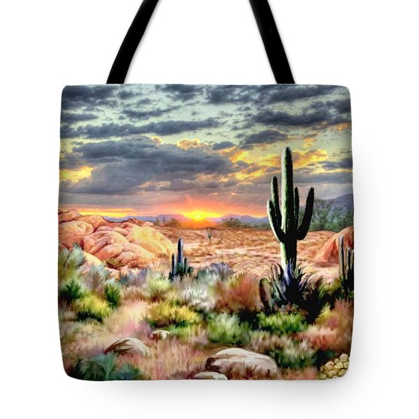 Twilight On The Desert Tote Bag by Ron Chambers