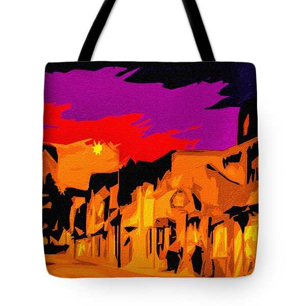 Twilight On The Plaza Santa Fe Tote Bag