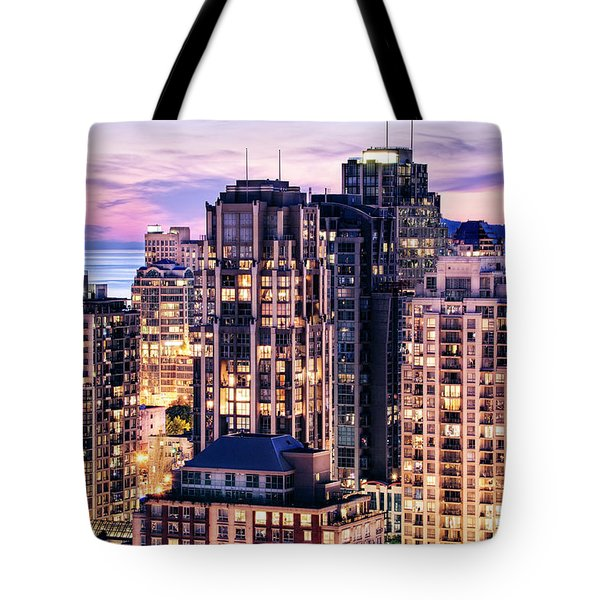 Twilight Over English Bay Vancouver Tote Bag by Amyn Nasser