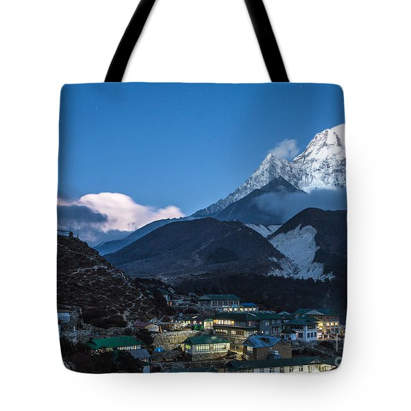 Twilight Over Pangboche In Nepal Tote Bag