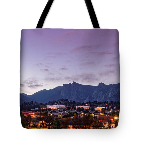 Twilight Panorama Of Estes Park, Stanley Hotel, Castle Mountain And Lumpy Ridge - Rocky Mountains  Tote Bag