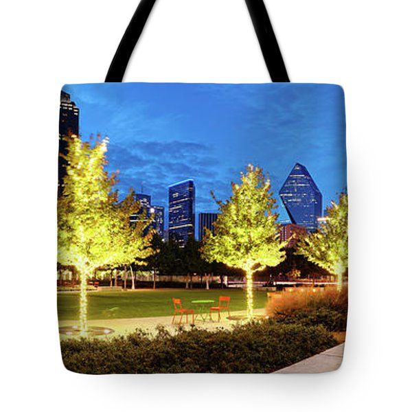 Twilight Panorama Of Klyde Warren Park And Downtown Dallas Skyline - North Texas Tote Bag
