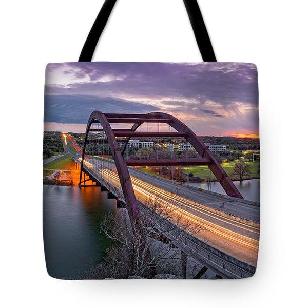 Twilight Panorama Of Pennybacker Bridge 360 Over Lake Austin - Texas Hill Country Tote Bag