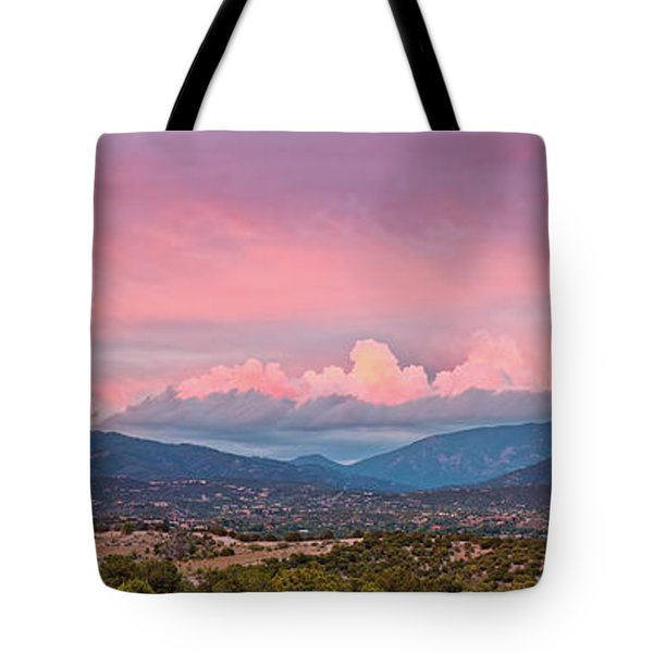 Twilight Panorama Of Sangre De Cristo Mountains And Santa Fe - New Mexico Land Of Enchantment Tote Bag