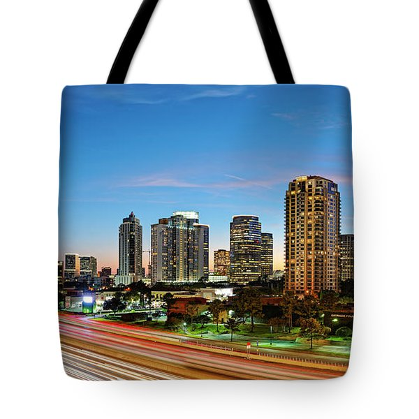 Twilight Panorama Of Uptown Houston Business District And Galleria Area Skyline Harris County Texas Tote Bag
