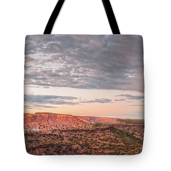 Twilight Panorama Over Kwage Mesa From White Rock Over Tote Bag
