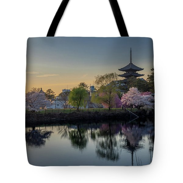 Tote Bag featuring the photograph Twilight Temple by Rikk Flohr