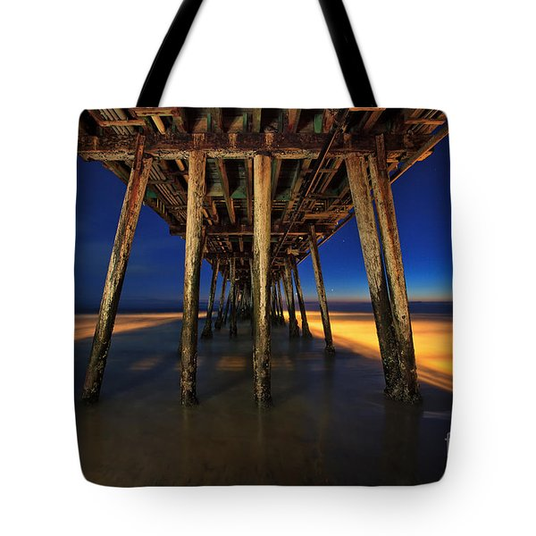 Twilight Under The Imperial Beach Pier San Diego California Tote Bag