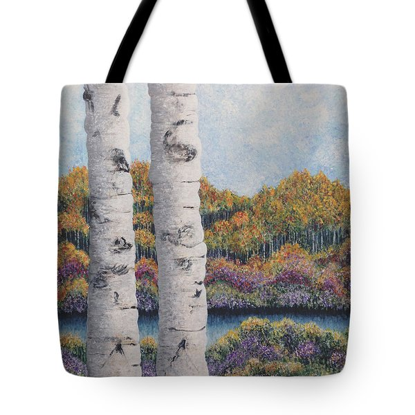 Twin Aspens Tote Bag by Holly Carmichael