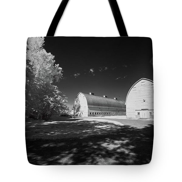 Tote Bag featuring the photograph Twin Barns by Bob Cournoyer