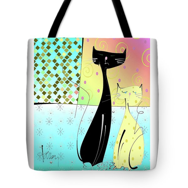 Tote Bag featuring the mixed media Cattitude by Larry Talley
