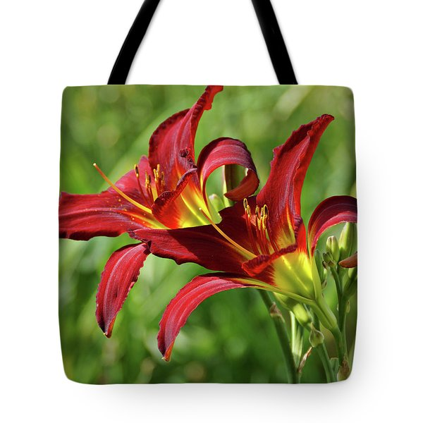 Tote Bag featuring the photograph Twin Daylilies by Sandy Keeton