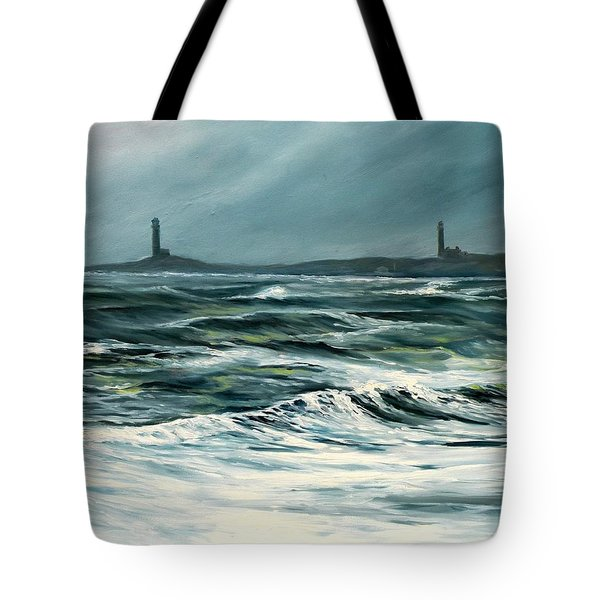 Twin Lights Rockport Ma Tote Bag