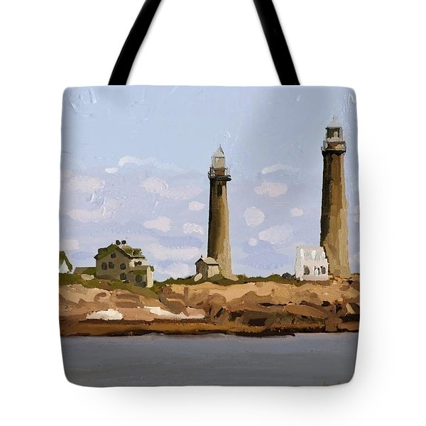 Twin Lights, Thatcher's Island, Rockport, Ma Tote Bag