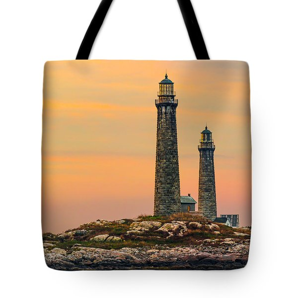 Twin Lights With Morning Glow Tote Bag