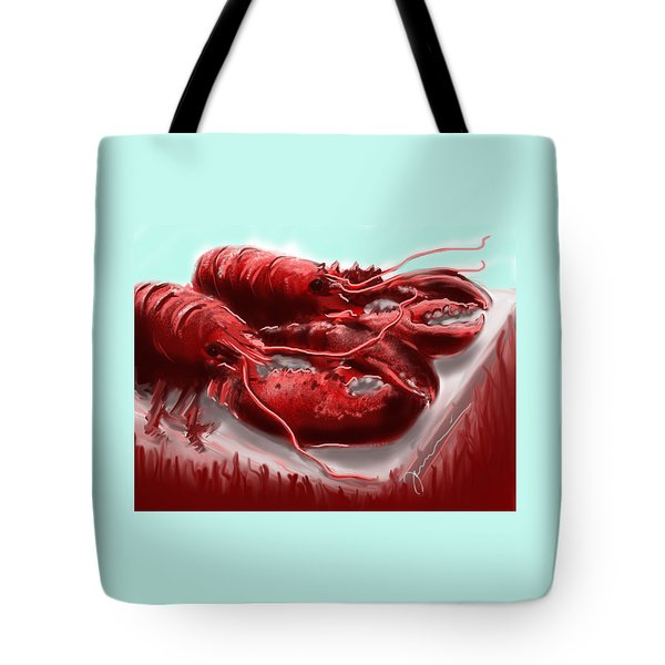 Twin Lobsters Tote Bag by Jean Pacheco Ravinski