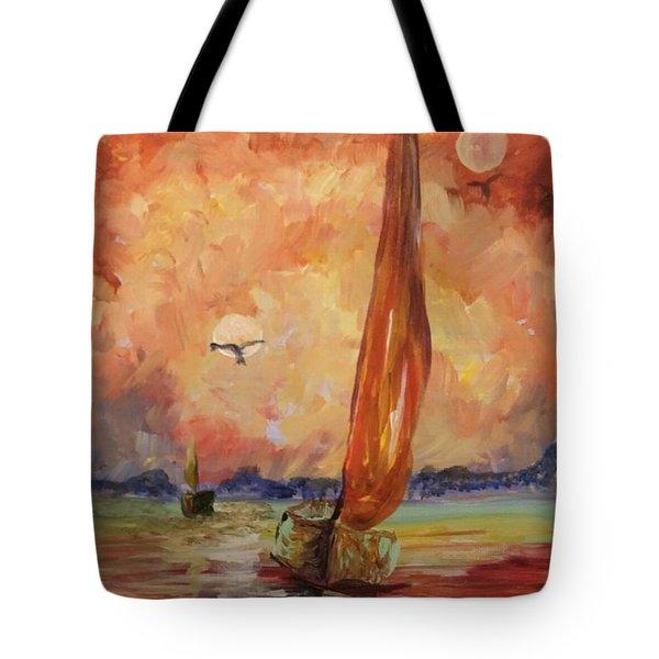 Twin Moons At Sunset Tote Bag