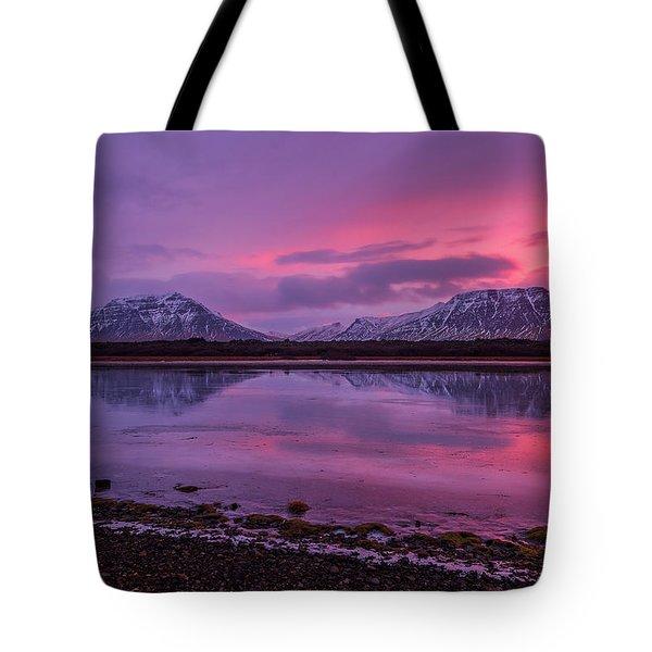 Tote Bag featuring the photograph Twin Mountain Sunrise by Pradeep Raja Prints