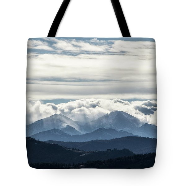 Tote Bag featuring the photograph Twin Peaks by Tyson Kinnison