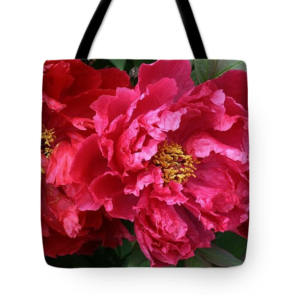 Twin Peonies Tote Bag by Bruce Bley