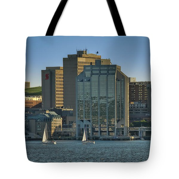 Twin Purdy Towers Of Halifax Tote Bag by Ken Morris