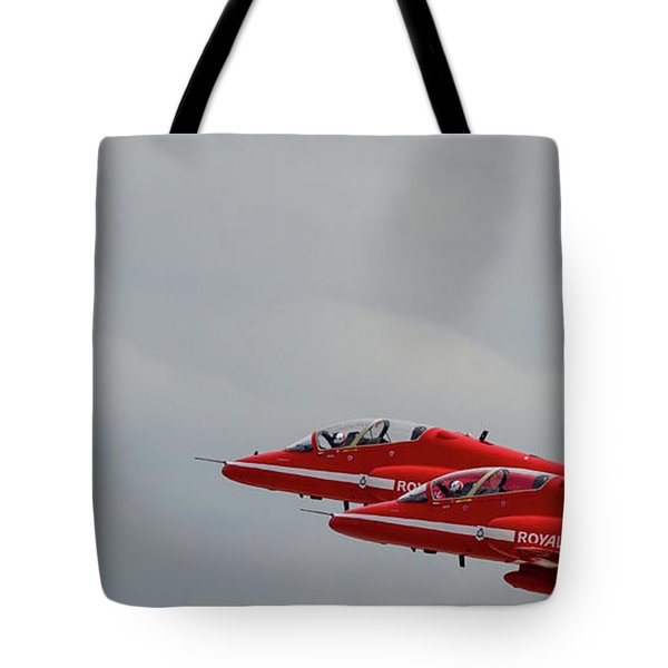 Tote Bag featuring the photograph Twin Red Arrows Taking Off - Teesside Airshow 2016 by Scott Lyons