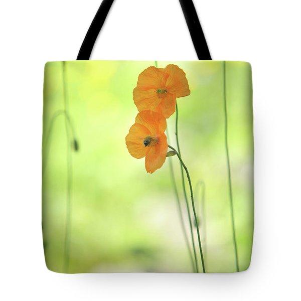 Twins. Orange Poppies Tote Bag