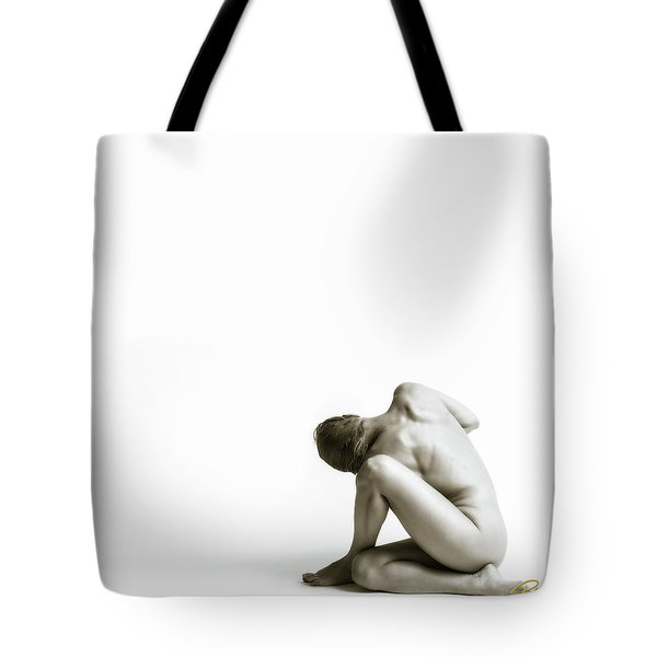 Tote Bag featuring the photograph Twisted Figure On White by Rikk Flohr