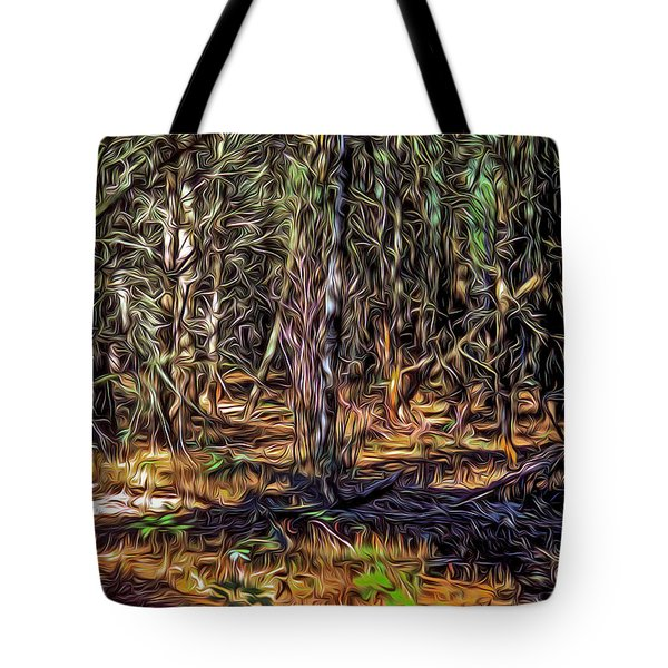 Tote Bag featuring the digital art Twisted Forest by Dennis Bucklin