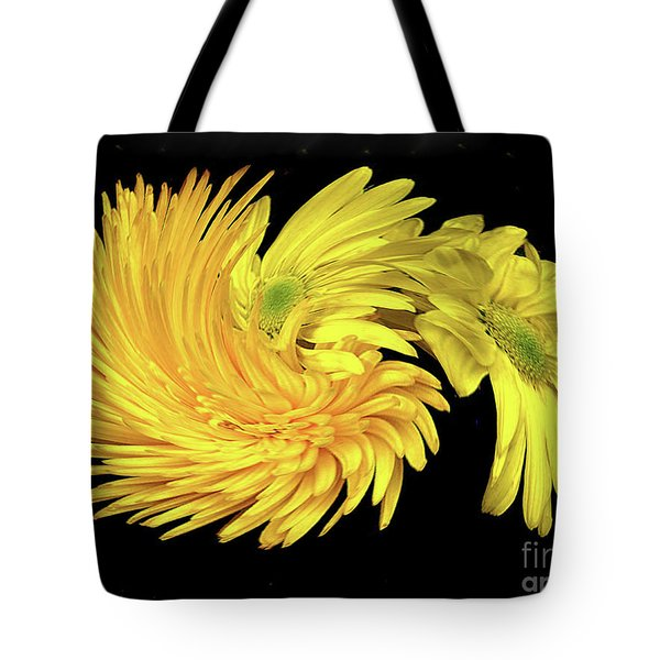 Tote Bag featuring the digital art Twisted Yellow Daisies by Merton Allen