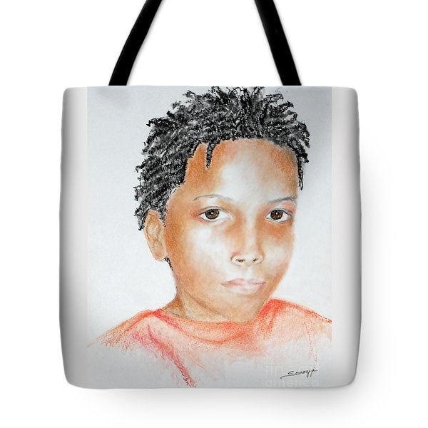 Twists, At 9 -- Portrait Of African-american Boy Tote Bag